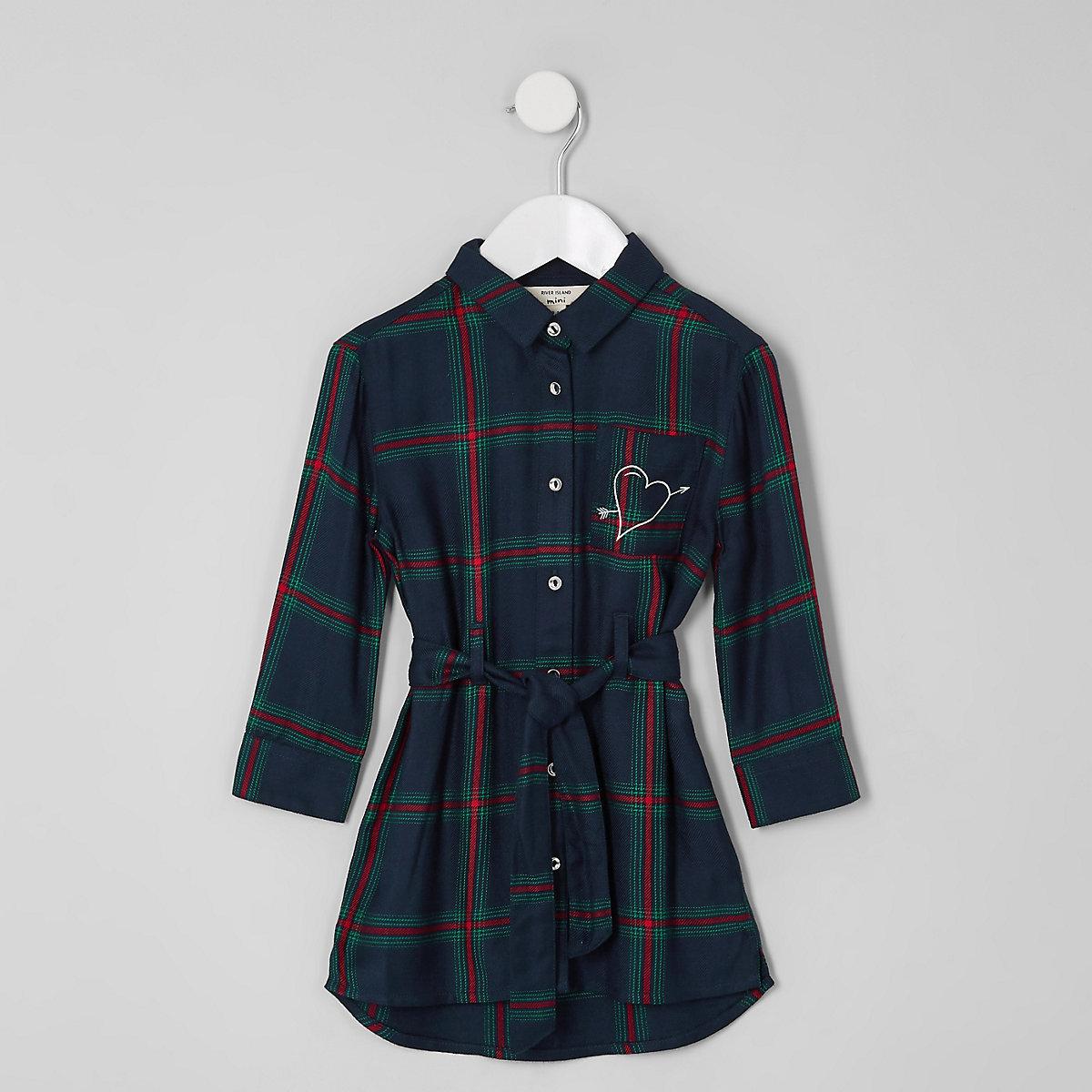Mini girls green check print shirt dress