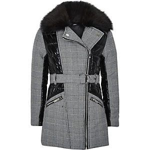 Girls black check padded panel coat