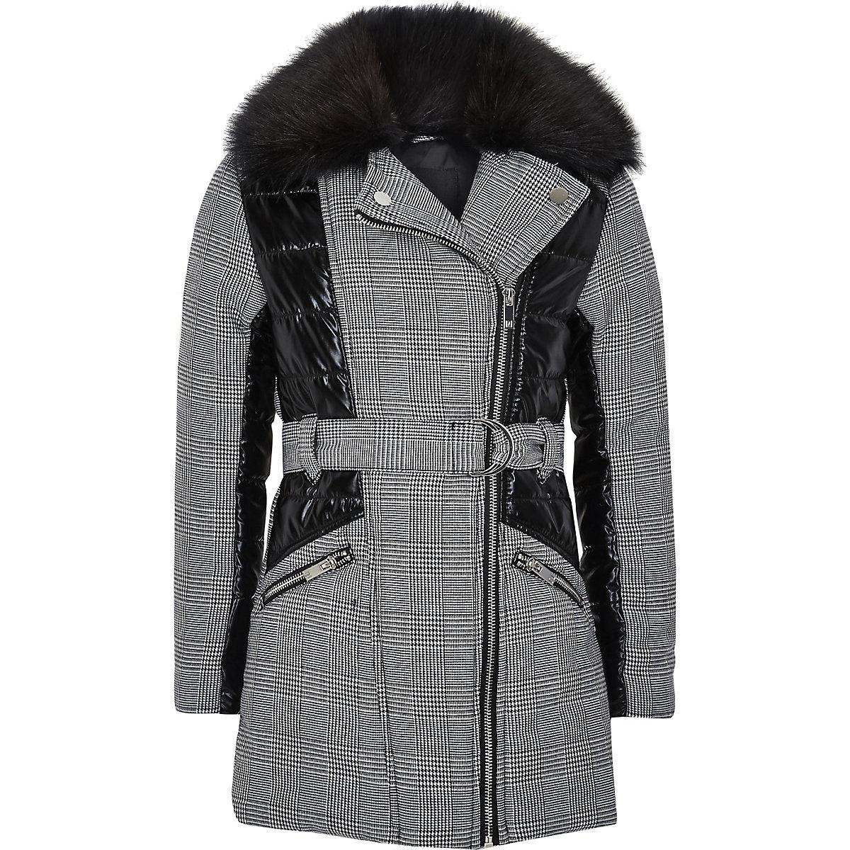 Girls black check padded panel coat
