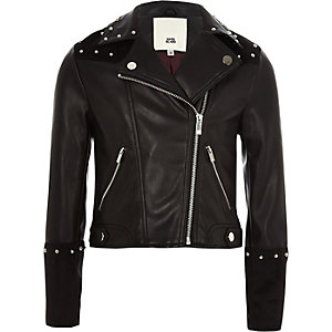 Girls black faux leather studded jacket