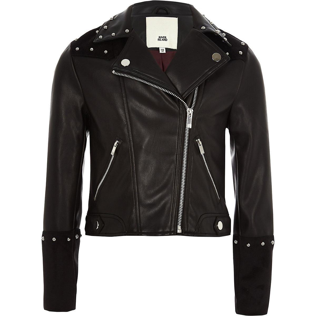 Girls black faux leather studded jacket