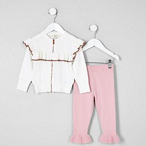 Mini - Outfit met crème vest met ruches en rits voor meisjes