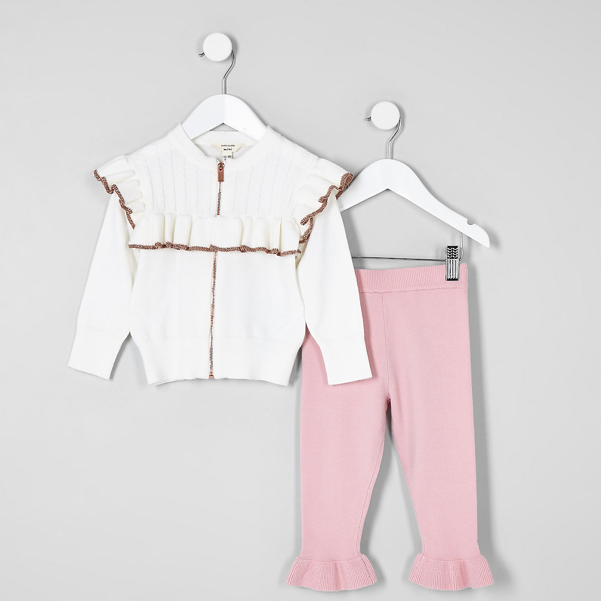 Mini girls cream frill zip cardigan outfit