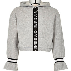 Girls grey RI tape trim hoodie