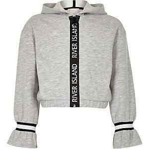 Grijze hoodie met bies met RI-logo voor meisjes