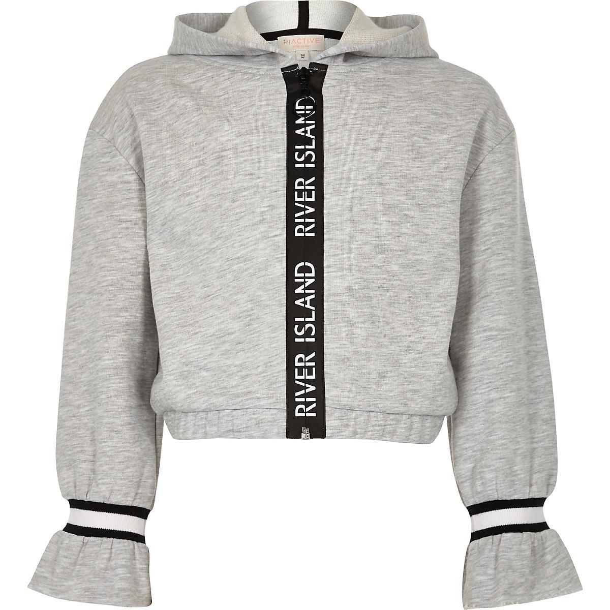 Girls grey RI Active tape trim hoodie