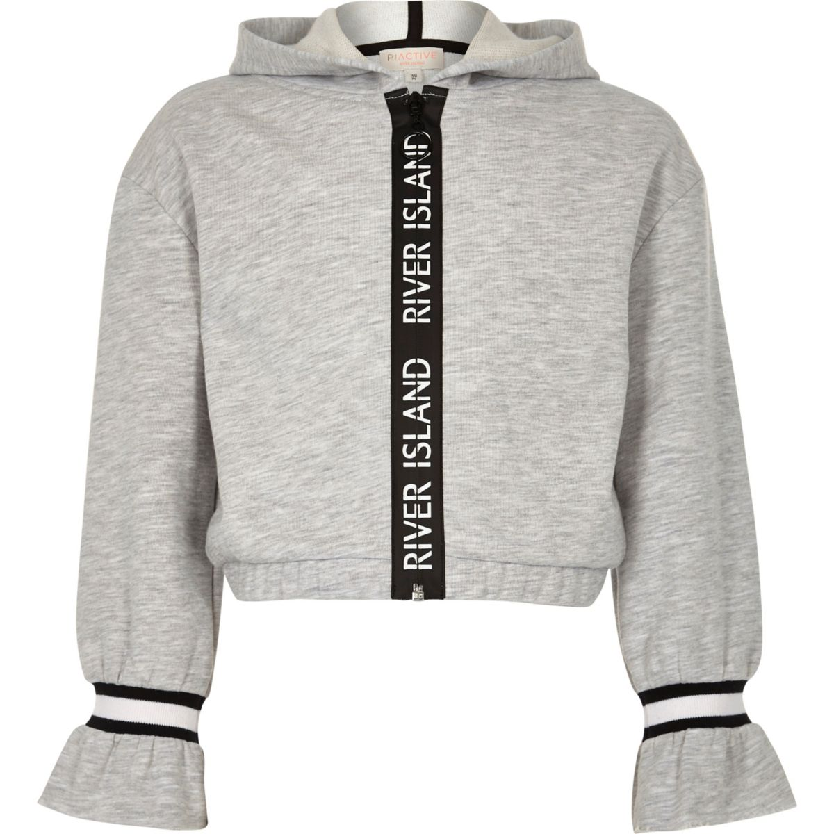 Girls grey RI tape trim hoodie