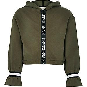 Kaki hoodie met bies met RI-logo voor meisjes