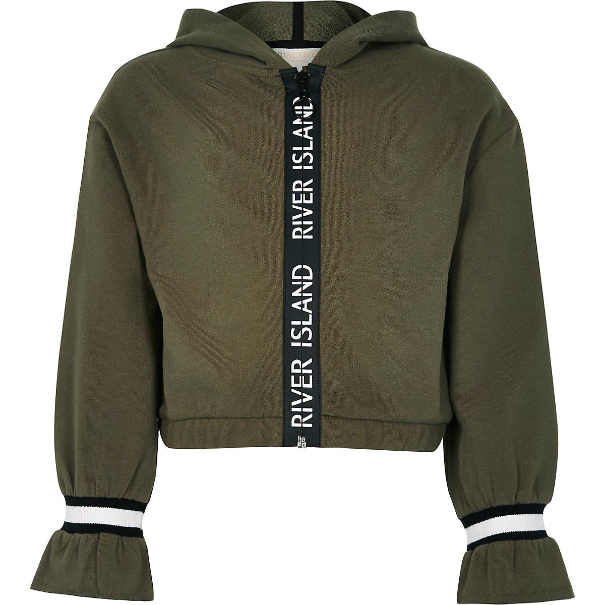 Girls RI Active khaki tape trim hoodie