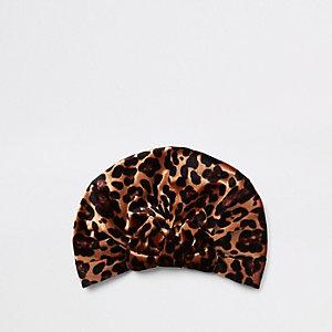 Mini - Bruine tulband met luipaardprint en strik voor meisjes