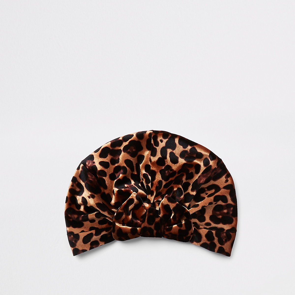 Mini girls brown leopard print bow turban