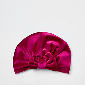 Bandeau turban en velours rose à nœud mini fille