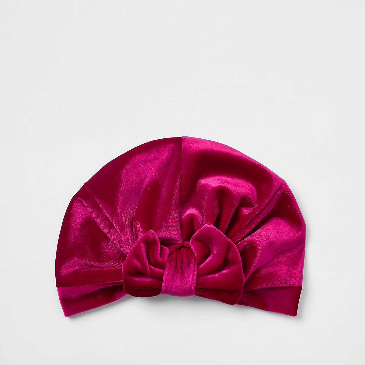 Mini girls pink velvet bow turban headband