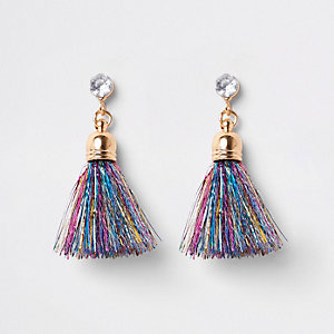 Blue gold tone tinsel tassel earrings