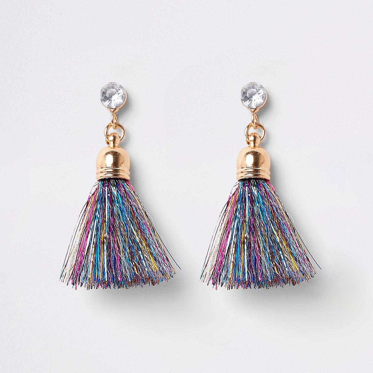Girls blue gold tone tinsel tassel earrings