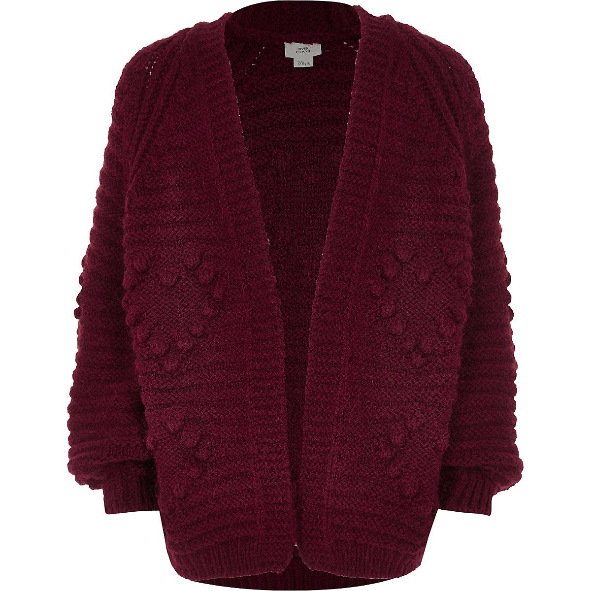 Girls red bobble heart knit cardigan