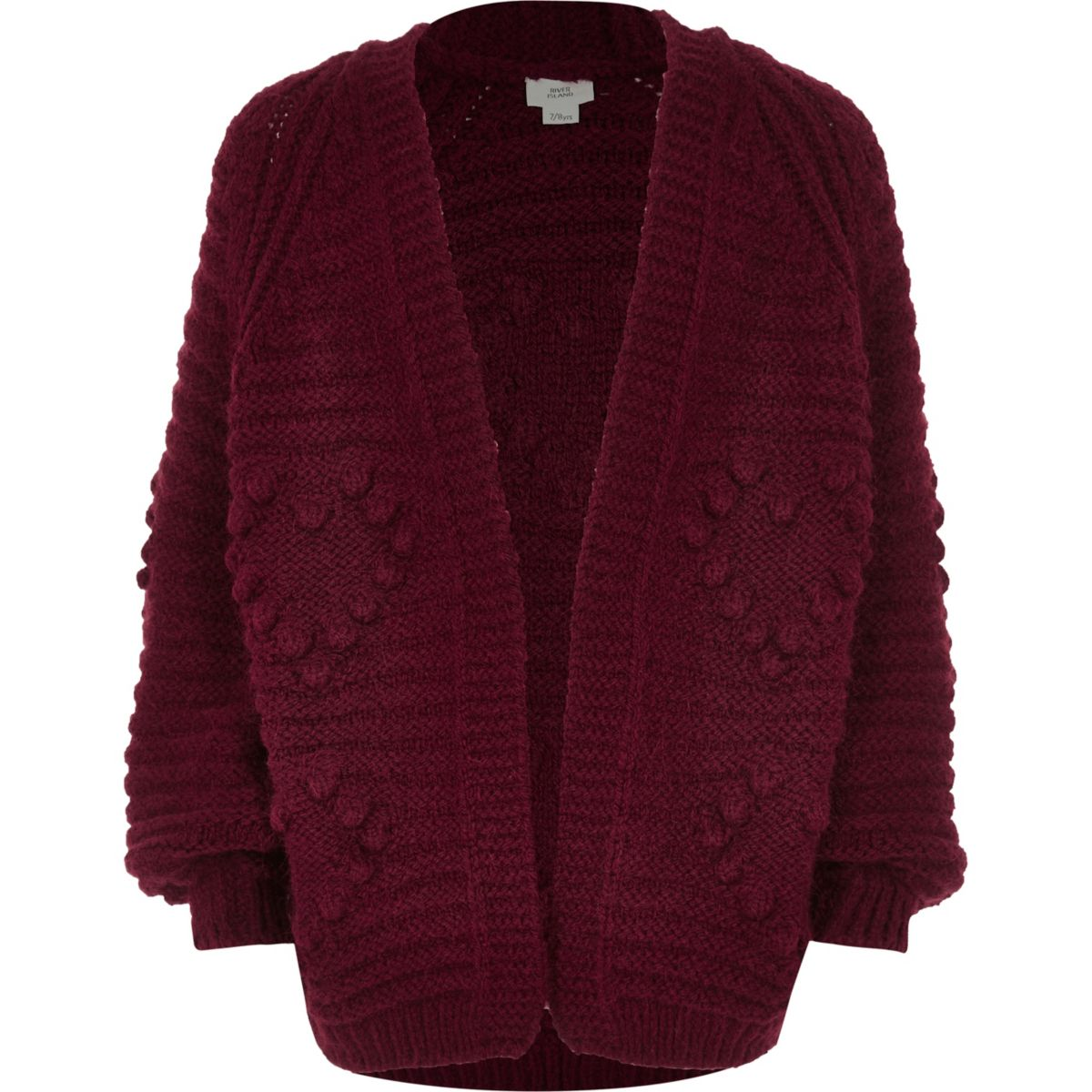 Girls red bobble heart knit cardigan