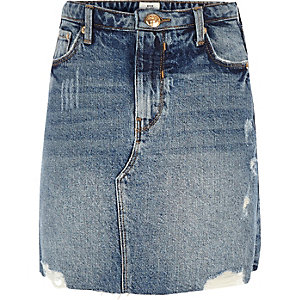 Girls blue denim A-line mini skirt