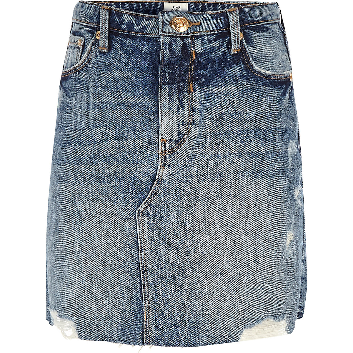 d8a515c072458b Girls blue denim A-line mini skirt
