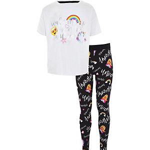 Pyjama à inscription « Wake me up » motif licornes blanc fille