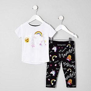 Mini girls white 'Wake me up' unicorn pajamas