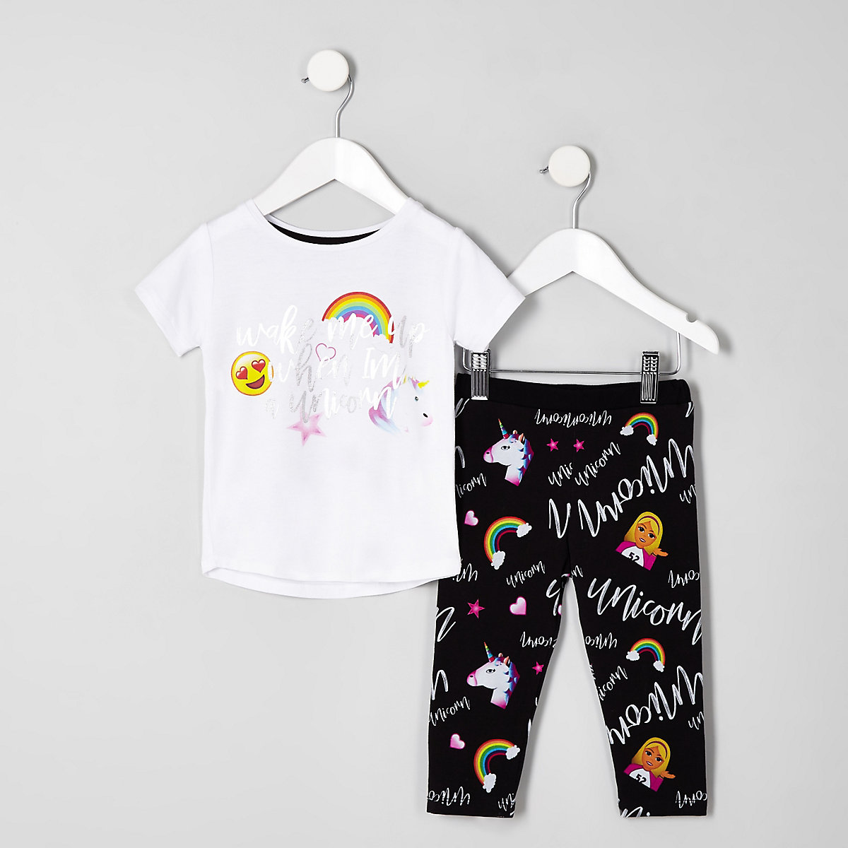 Mini girls white 'Wake me up' unicorn pyjamas