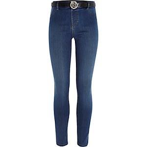 Mini girls blue Molly RI belted jeggings