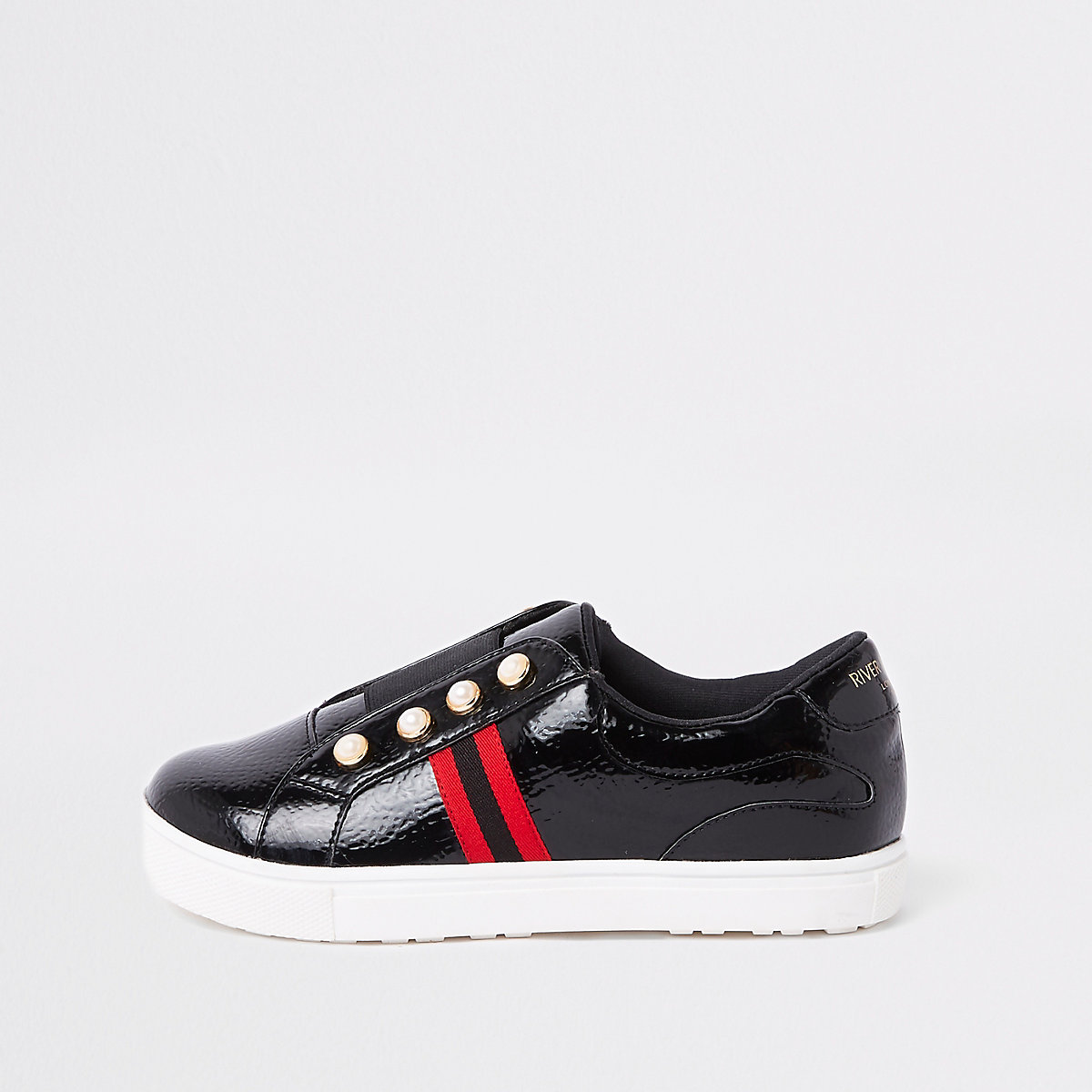 Girls black patent pearl stripe plimsolls