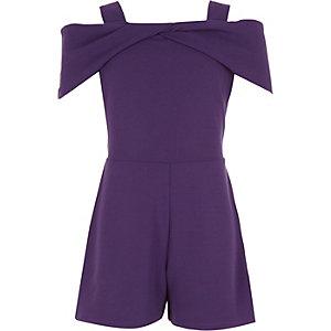 Combi-short violet noué à épaules dénudées fille