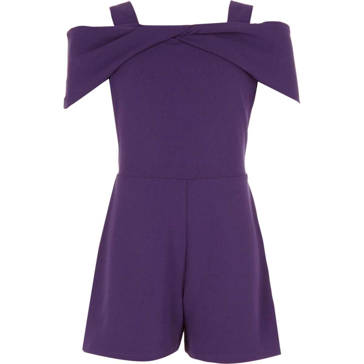 Girls purple bow cold shoulder romper