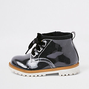 Mini kids black perspex lace-up boots