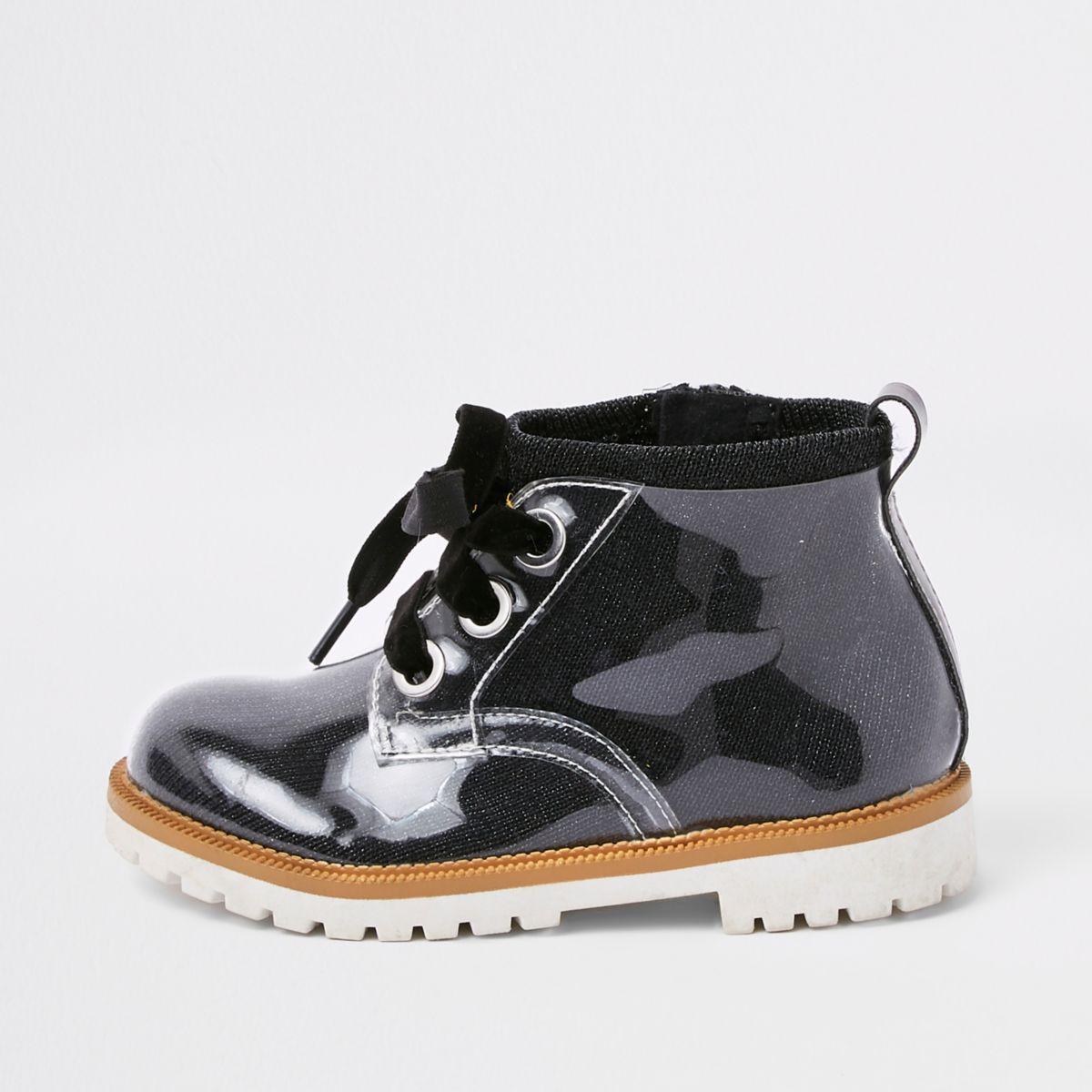 Mini girls black perspex lace-up boots