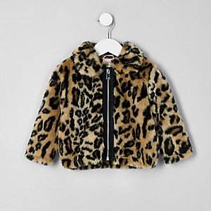 Mini girls brown leopard print faux fur coat