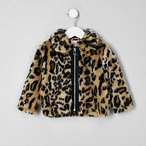 Mini - Bruine jas van imitatiebont met luipaardprint voor meisjes