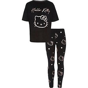 Zwarte pyjamaset met Hello Kitty-print voor meisjes