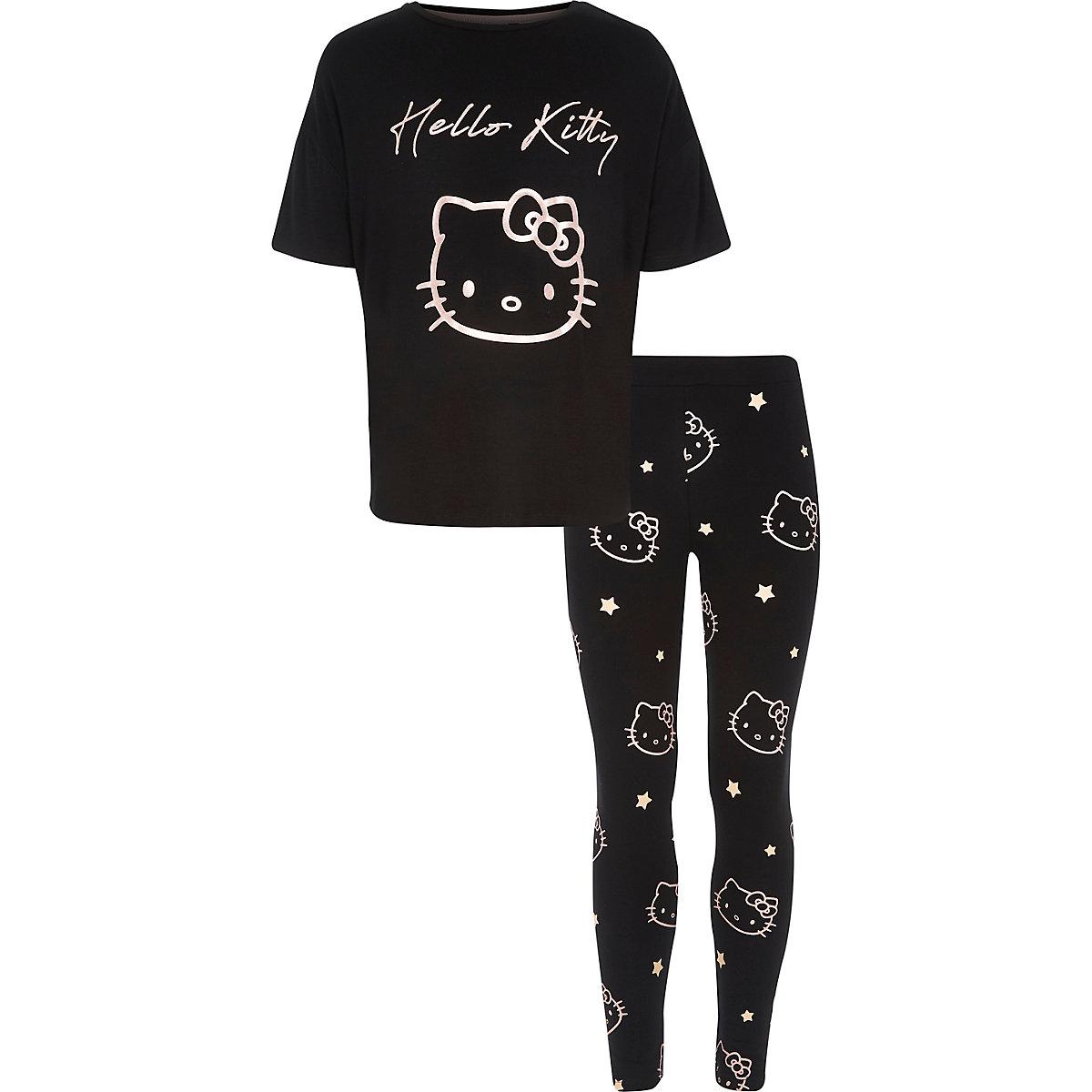 Girls black Hello Kitty pyjama set