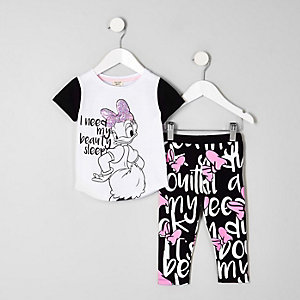 Mini girls white Daisy Duck sequin pyjama set