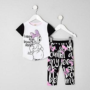 Daisy Duck – Weißes Pyjama-Set mit Paillettenverzierung