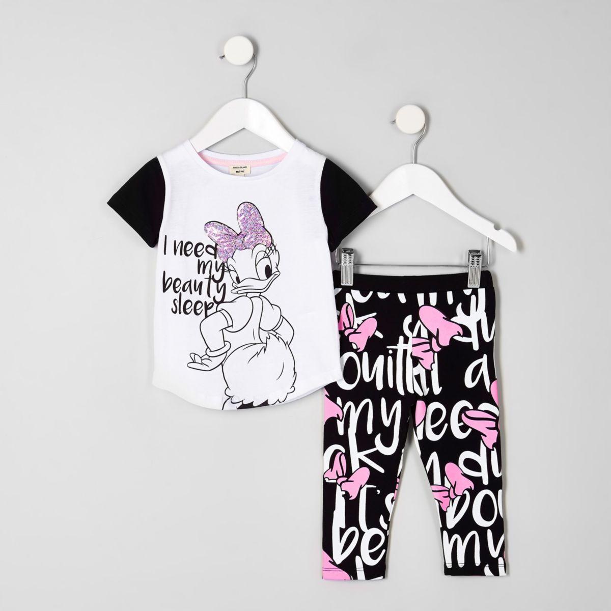 Mini girls white Daisy Duck sequin pajama set