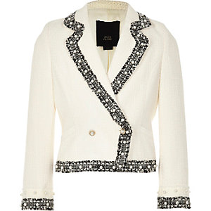 RI 30 girls cream boucle blazer