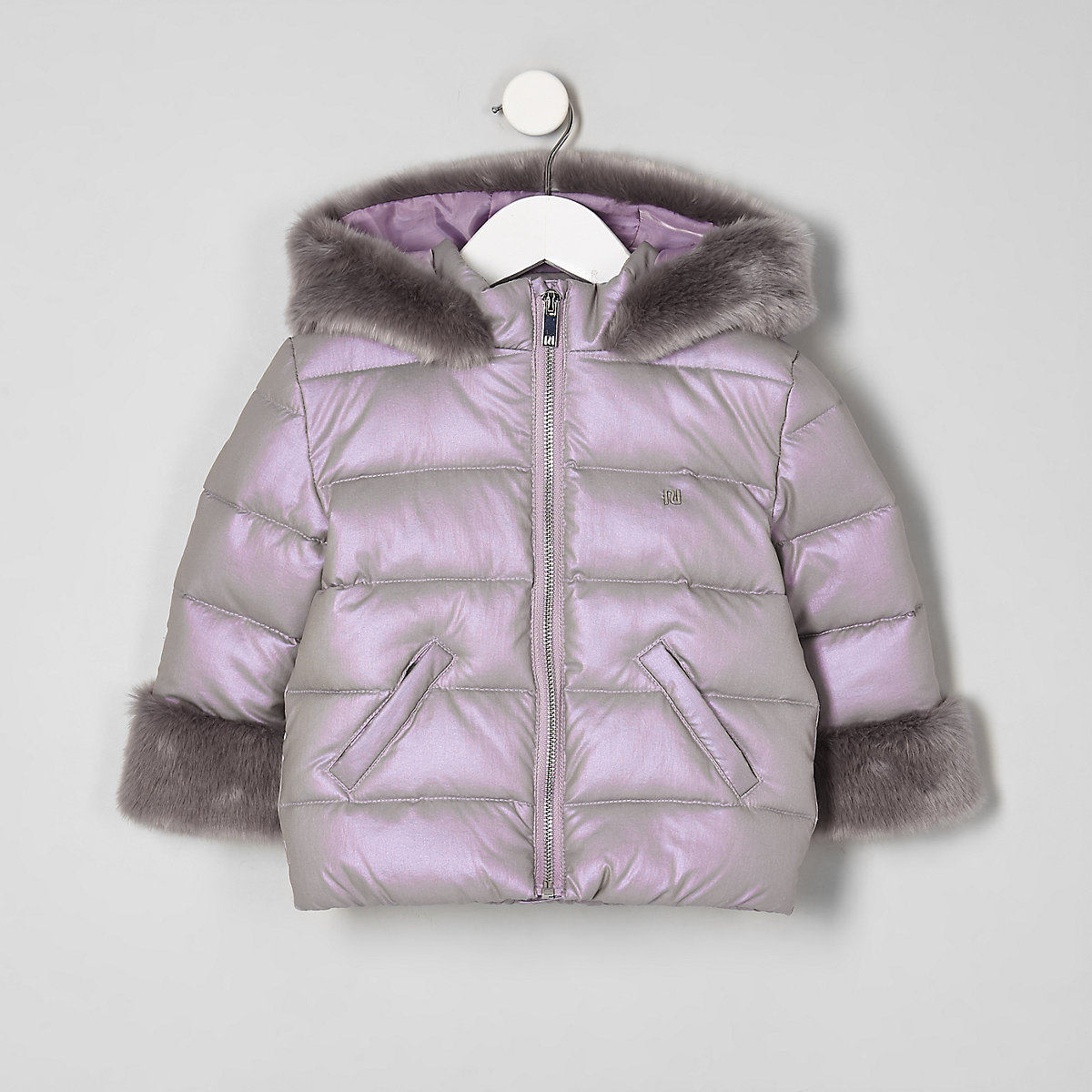 Mini girls purple faux fur trim padded coat