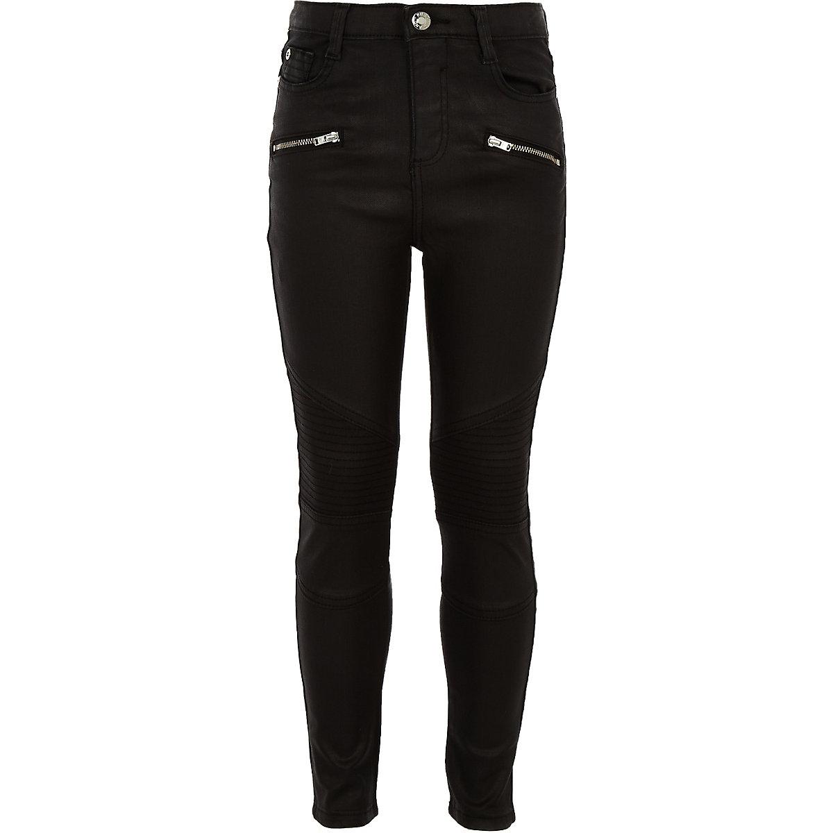 Girls black Amelie coated biker jeans