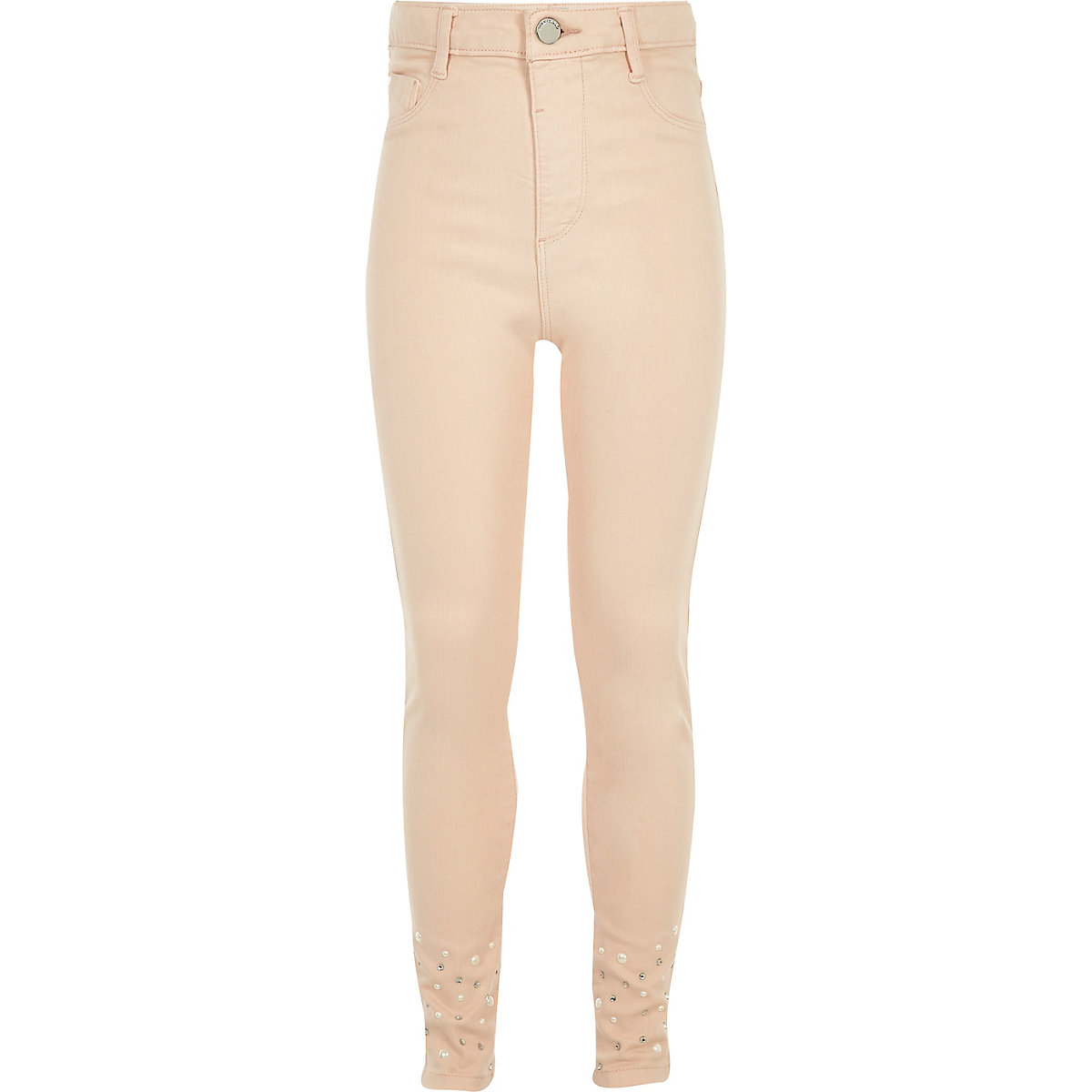 Girls pink embellished hem Molly jeggings