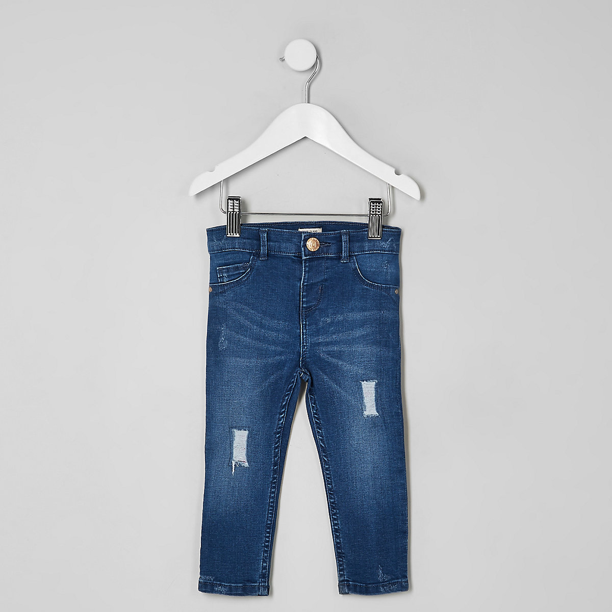 Mini girls blue ripped sequin Molly jeggings