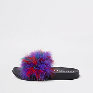 Girls red faux feather multi colour sliders