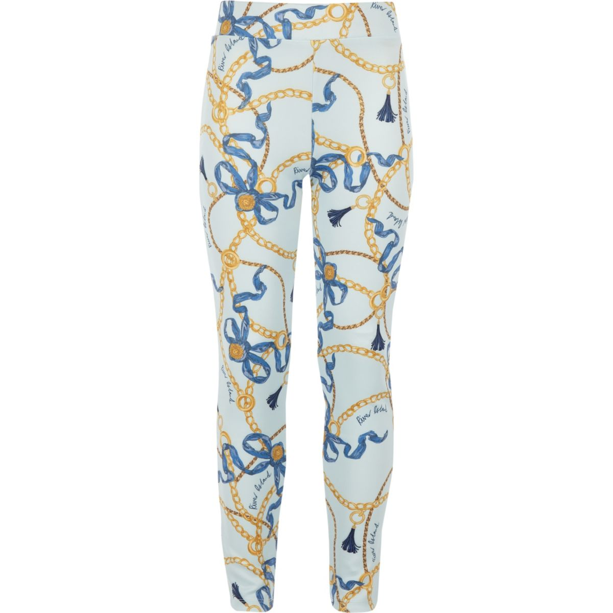 Girls blue ribbon print leggings