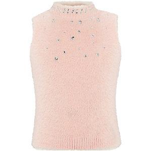 Girls pink diamante sleeveless fluffy top