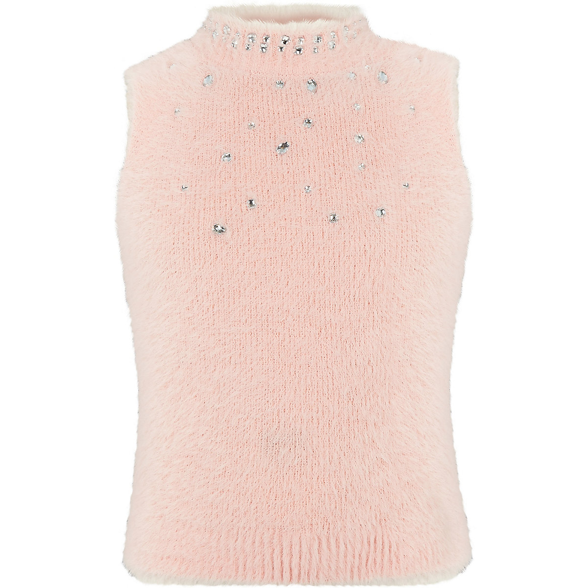 Girls pink diamante sleeveless fluffy top