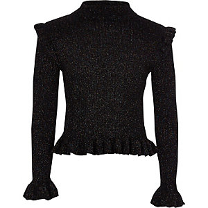 Girls black frill high neck sweater