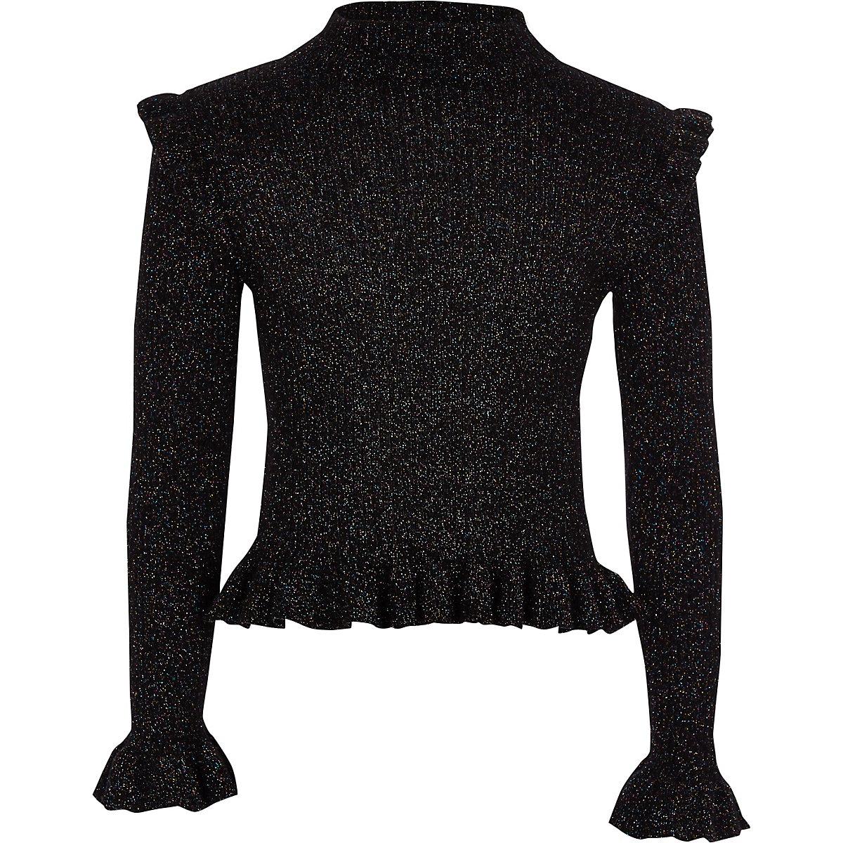 Girls black frill high neck sweater